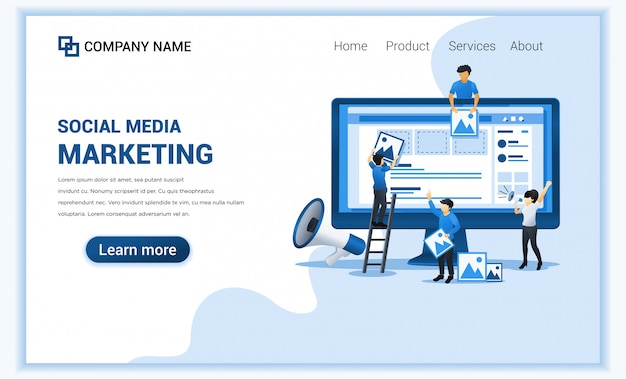 Social media marketing concept with characters. business online advertising, marketing presentation. Premium Vector