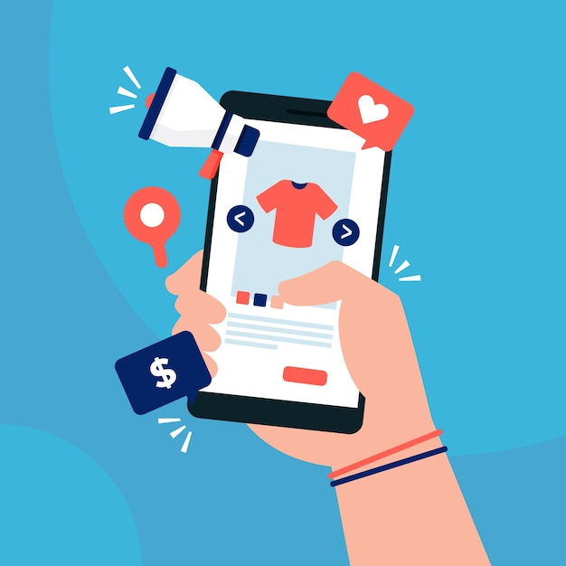 Social media marketing concept with smartphone Free Vector