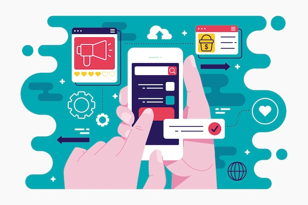 Social media marketing concept Premium Vector