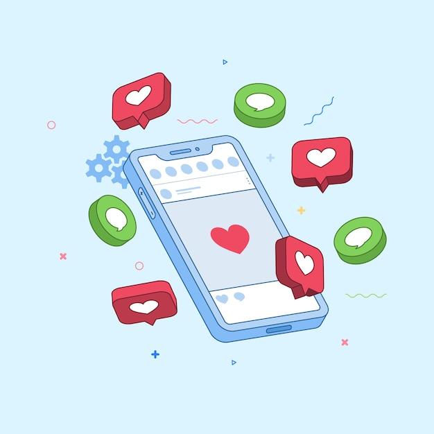 Social media marketing concept Free Vector