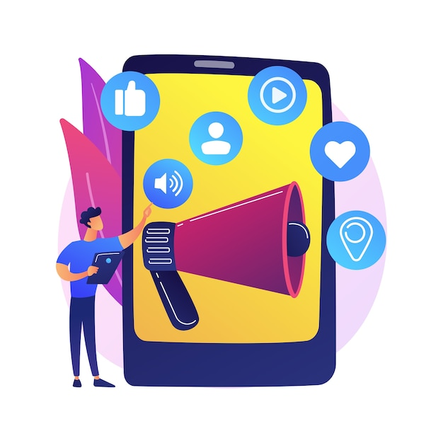 Social media marketing. e commerce tool, smm management, online advertising. businessman using social networking for product promotion Free Vector