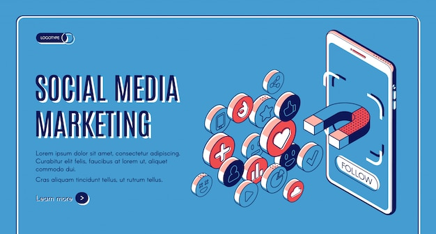 Social media marketing isometric web banner. Free Vector
