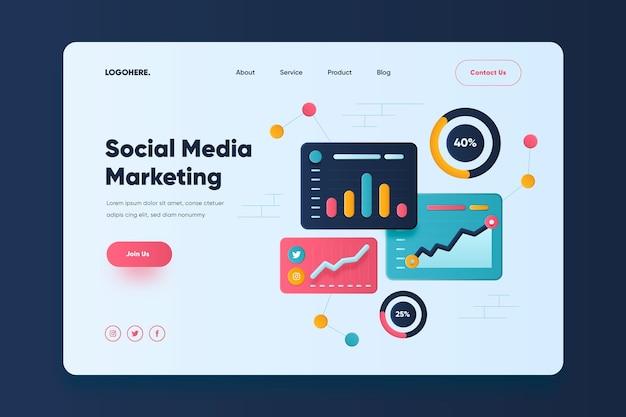 Social media marketing landing page template Free Vector