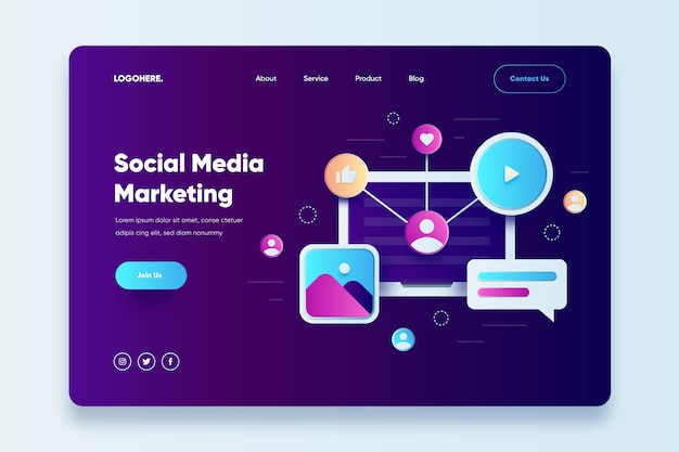 Social media marketing landing page template Free Vector