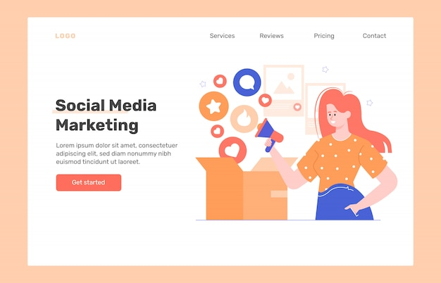 Social media marketing. landing page web design concept. girl with a megaphone and a box in which likes and comments fall. increase audience reach for advertising. flat illustration. Premium Vector