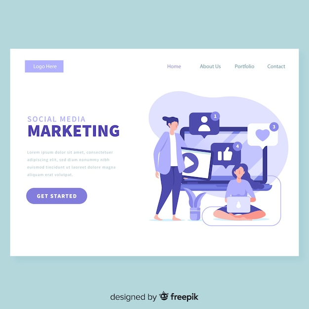 Social media marketing landing page Free Vector
