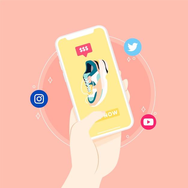 소셜 미디어 마케팅 휴대 전화 개념 설명 프리미엄 벡터
