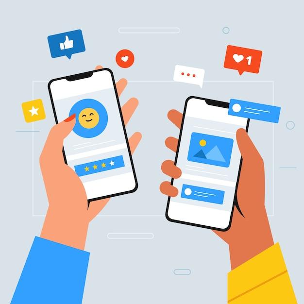 스마트 폰 들고 사람들과 소셜 미디어 마케팅 휴대 전화 개념 프리미엄 벡터