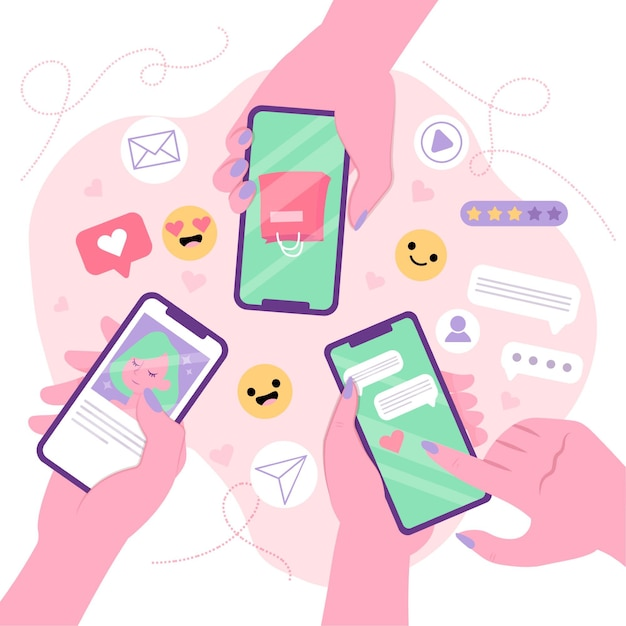 Social media marketing mobile phone concept with people together Free Vector