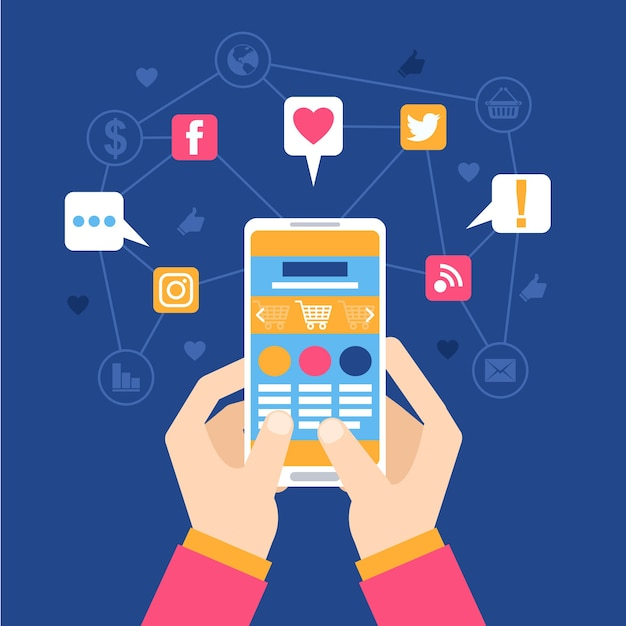 Social media marketing mobile phone concept Free Vector