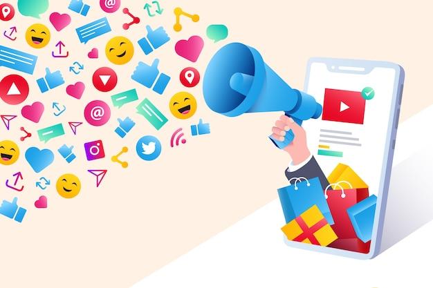 Social media marketing mobile phone concept Free Vector