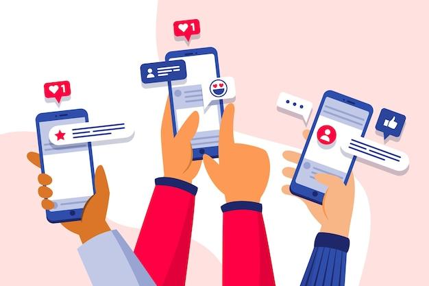전화 개념에 소셜 미디어 마케팅 프리미엄 벡터