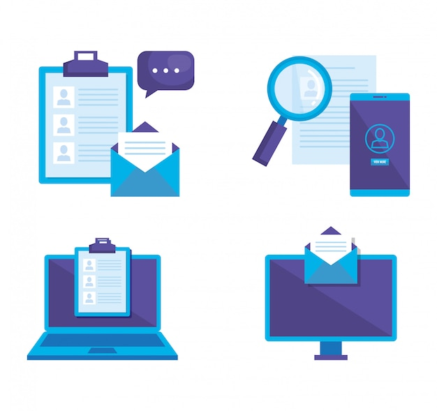 Social media marketing set icons Free Vector