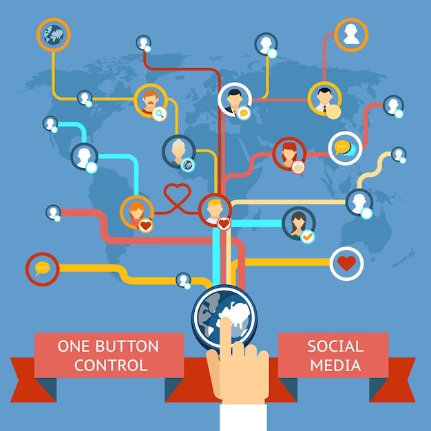 Social media marketing. social network and technology, synchronization and facebook. vector illustration Free Vector