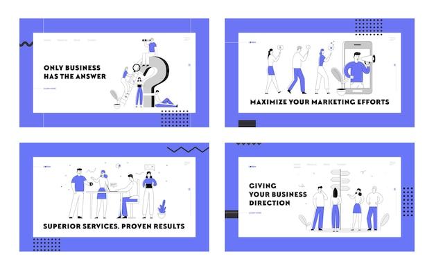 Маркетинг в социальных сетях, творческая группа для совместной работы, набор целевых страниц веб-сайта для поиска информации. Premium векторы