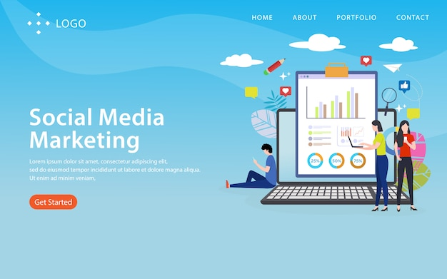 Social media marketing, website template,  layered, easy to edit and customize, illustration concept Premium Vector