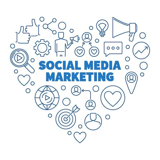 Social media marketing сердце синий линейный рисунок Premium векторы