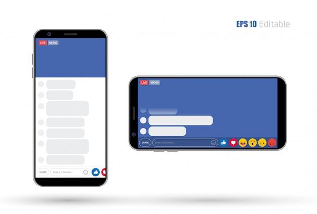Social media mobile app new feed Premium Vector