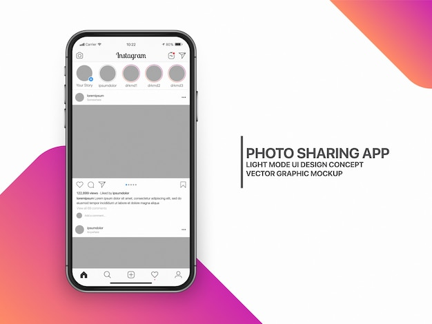 Social media mockup ui ux template layout Premium Vector