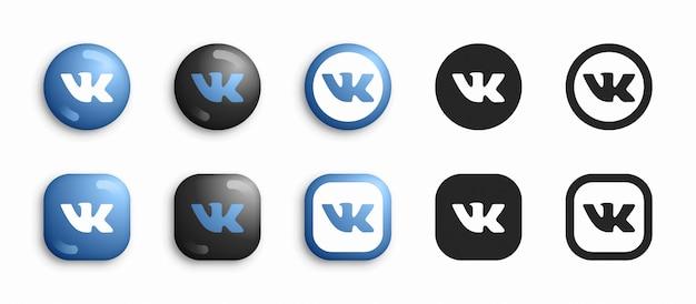 Социальные медиа современные 3d и набор плоских иконок Premium векторы