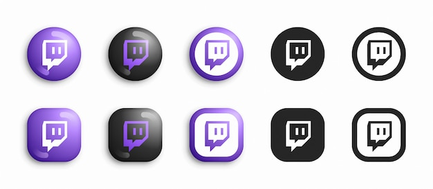 Social media modern 3d and flat icons set Premium Vector