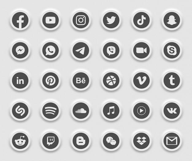 소셜 미디어 현대 3d 웹 아이콘 세트 프리미엄 벡터