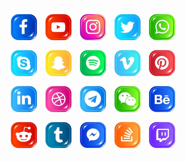 Social media modern  web icons set Premium Vector