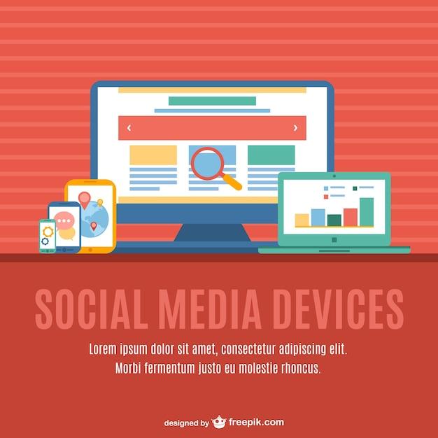 Dispositivi multimediali multi-social media Vettore gratuito
