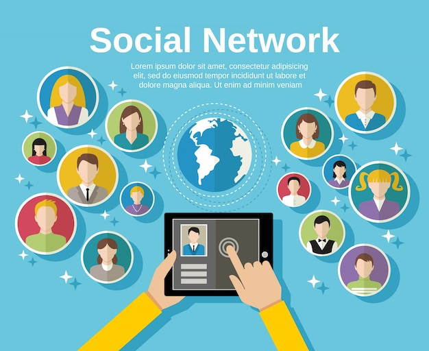 Social media network concept with human hand with tablet avatars and globe on background vector illustration Free Vector