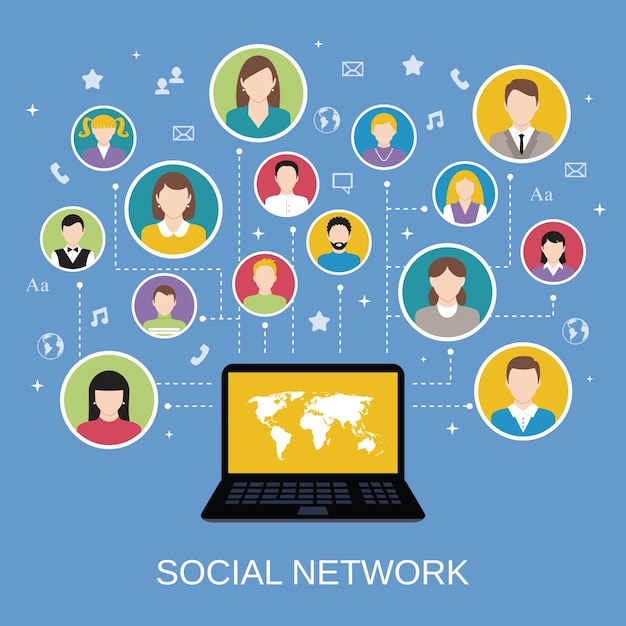 Social media network concept with male and female avatars connected via laptop vector illustration Free Vector
