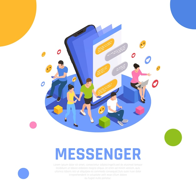 Social media network isometric composition  with messenger applications open on smartphone screen and communicating users Free Vector