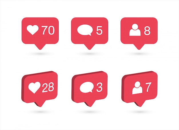Social media notifications icons. like, comment, follow icon. Premium Vector