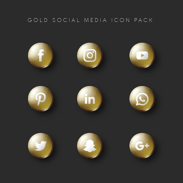 Social media populer icon 9 set gold version Premium Vector