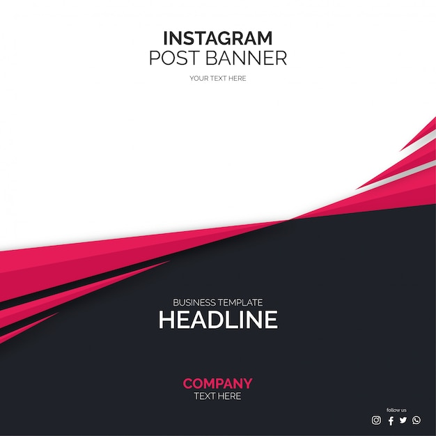 Social media post banner template with abstract shapes Free Vector