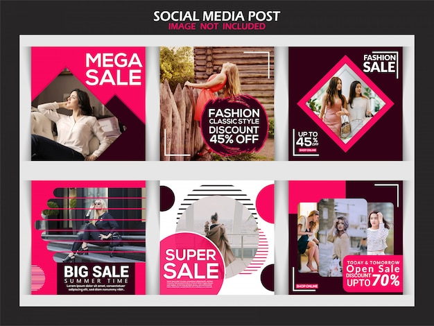 Social media post collection Premium Vector