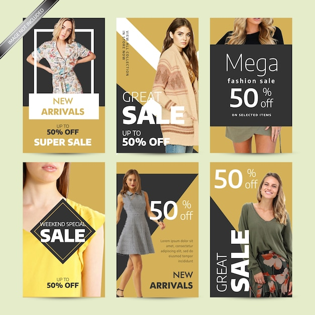 Social media post design template for fashion Premium Vector