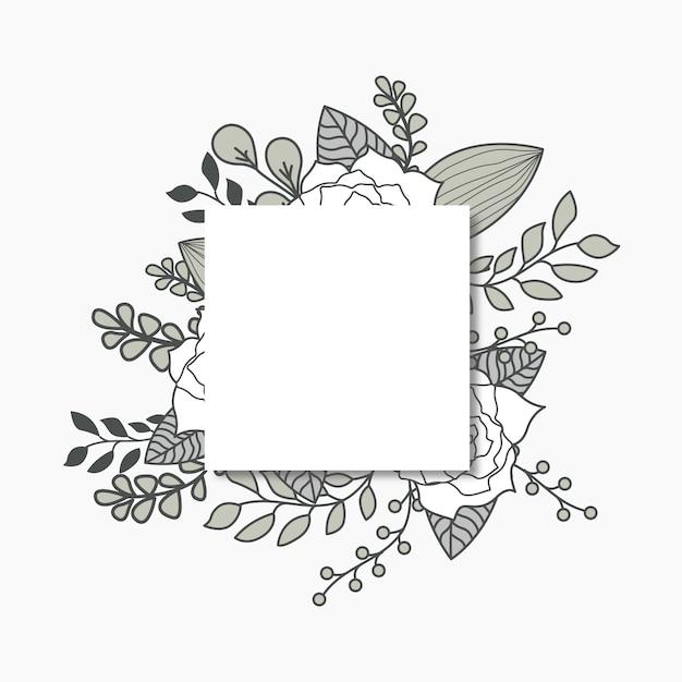 Social media post grey floral flat illustration Premium Vector