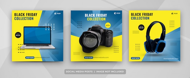 Social media post set of black friday gadget collection template Premium Vector