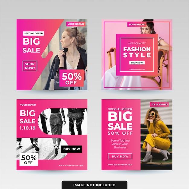 Social media post template design pack Premium Vector