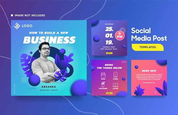 Social media post template for event with cool gradient and botanical element Premium Vector