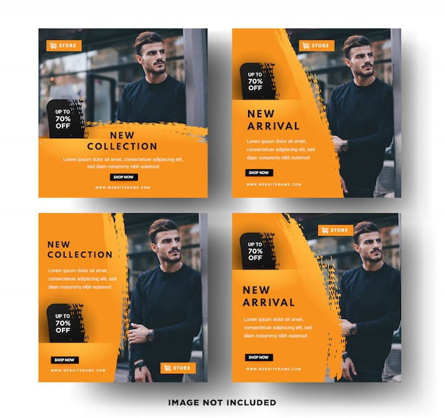 Social media post template. men's fashion sales Premium Vector