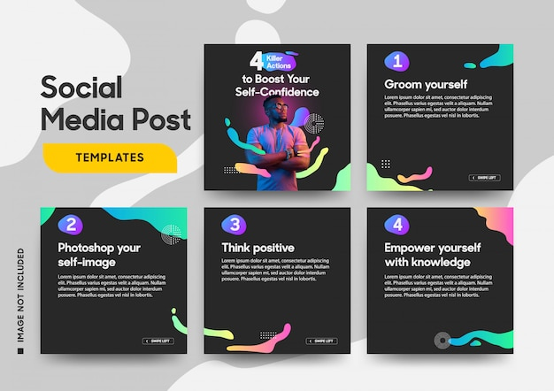Social media post template with a cool fluid elements Premium Vector