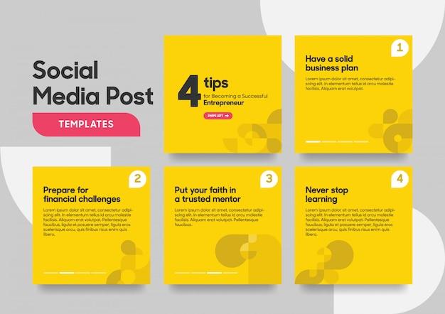 Social media post template with geometric shape Premium Vector
