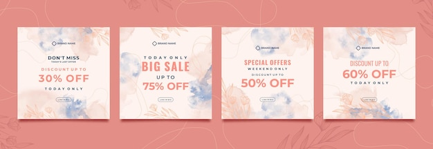Social media post template with watercolor background Premium Vector