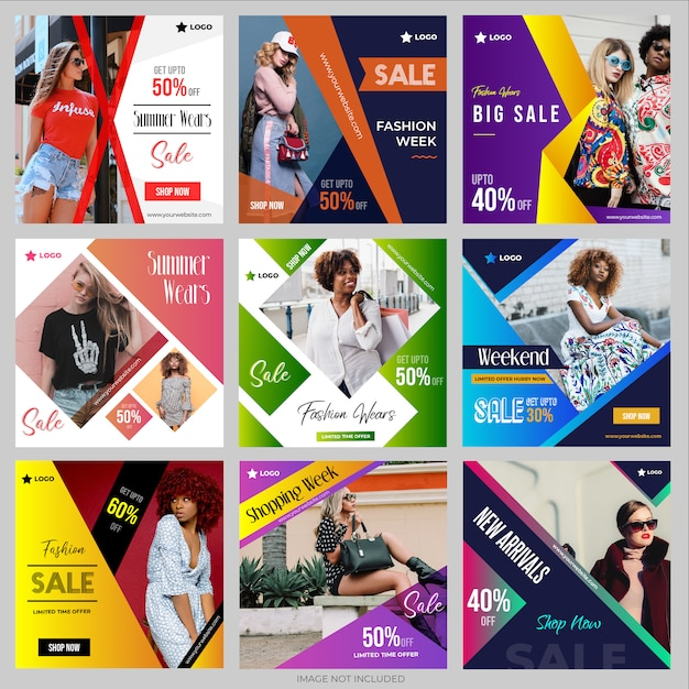 Social media post templates collection for instagram Premium Vector