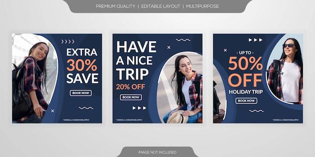 Social media post travel template Premium Vector