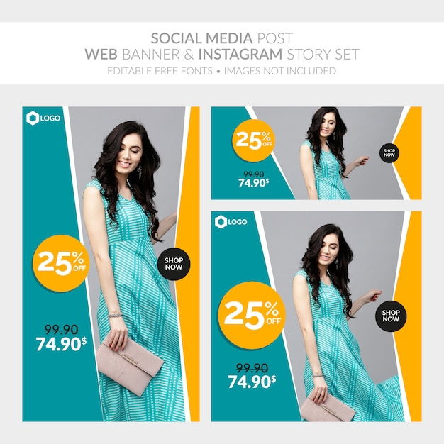 Social media post web banner and instagram story set Premium Vector