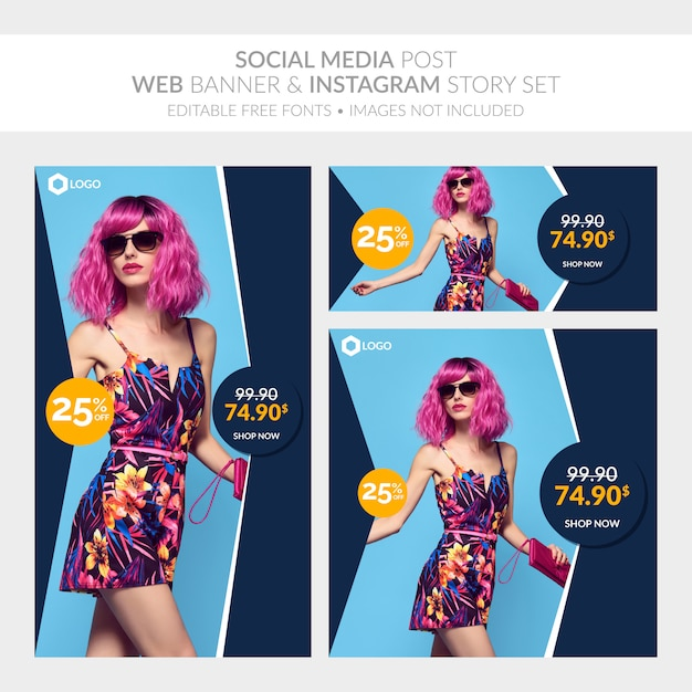 Social media post web banner and instagram story set Premium Vector