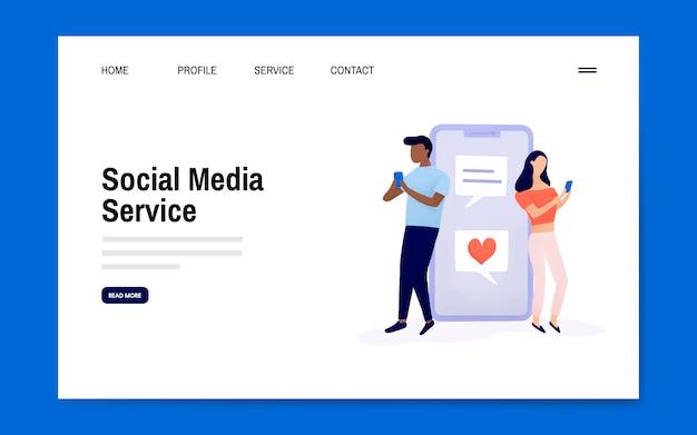 Social media service landing page layout vector Free Vector