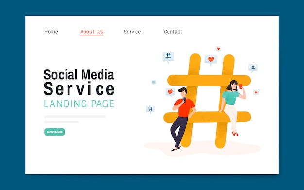 Social media service landing page layout vector Free Vector